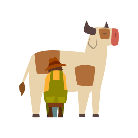 Male farmer milking cow, farm worker at work vector Illustration on a white background