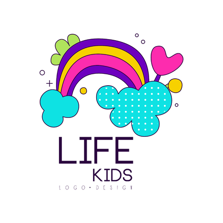 Kids life icon design, bright label with rainbow for kids club Illustration