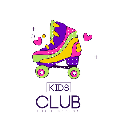 Kids club icon design, bright badge for development, educational or sport center vector Illustration on a white background Ilustracja