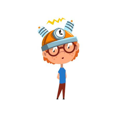 Cute kid with experimental equipment on his head, scientist boy character working on science experiment vector Illustration on a white background Ilustração