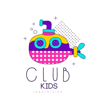 Kids club icon design, label for development, educational or sport center vector Illustration on a white background Stock Illustratie