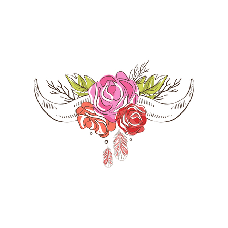 Cow horns with flowering roses, hand drawn floral composition vector Illustration on a white background Иллюстрация