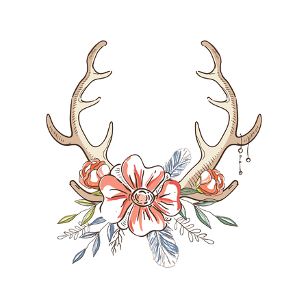 Antlers with a wreath of flowers, hand drawn floral composition with deer horns vector Illustration on a white background