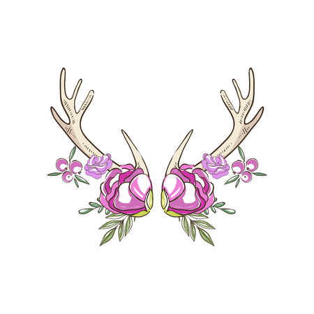 Antlers with pink roses and berries, hand drawn floral composition with deer horns vector Illustration on a white background
