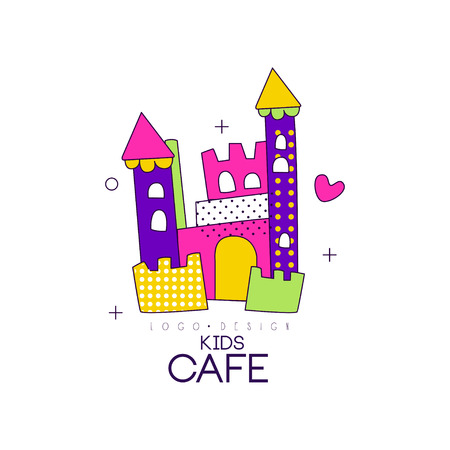 Kids cafe icon design, badge with colorful castle, label for children's and baby food vector Illustration on a white background Standard-Bild - 99994234