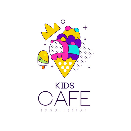Kids cafe icon design, bright badge with ice cream, label for children and baby food vector Illustration on a white background Stockfoto - 99993179
