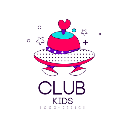 Kids club icon , design element, label for development, educational or sport center vector Illustration on a white background
