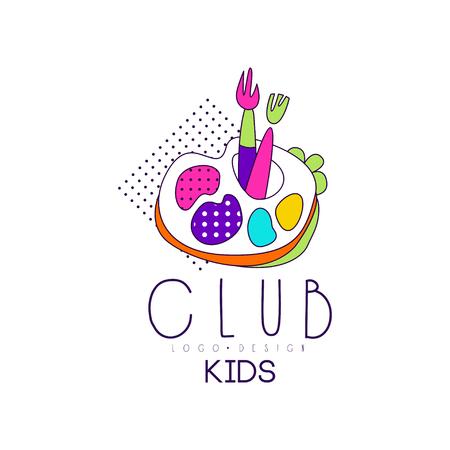 Kids club icon design, bright badge for development, educational or sport center vector Illustration on a white background Stock Illustratie
