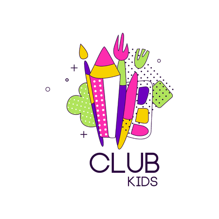 Kids club icon, label for development, educational or sport center vector Illustration on a white background Stockfoto - 99993229