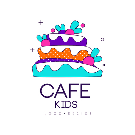 Kids cafe icon design, bright badge with cake, label for children's and baby food vector Illustration on a white background Foto de archivo - 99993225