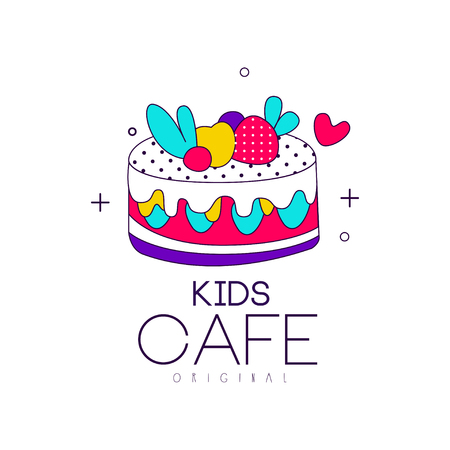 Kids cafe icon original, bright badge with cake, label for children and baby food vector Illustration on a white background Stock Illustratie