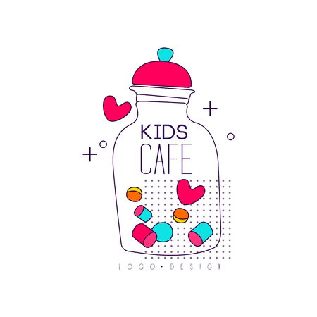 Kids cafe icon design, bright badge, label for children's and baby food, restaurant, cafe vector Illustration on a white background Standard-Bild - 99993233
