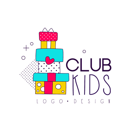 Kids club icon, design element for development, educational or sport center vector Illustration isolated on a white background Stock Illustratie