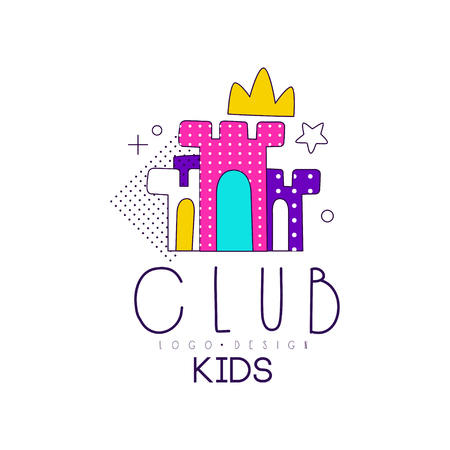 Kids club icon, design element for development, educational or sport center, toys shop vector Illustration on a white background Stock Illustratie