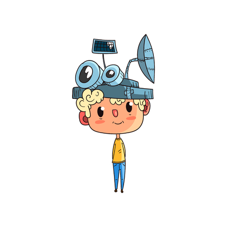 Cute scientist boy character working on physics science experiment, funny kid in fantastic headdress with antennas vector Illustration on a white background