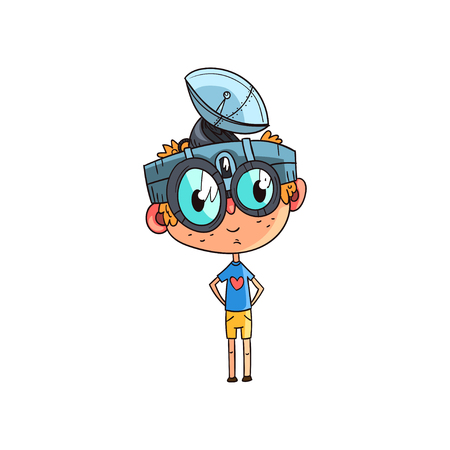 Cute scientist boy character working on physics science experiment, funny kid in fantastic headdress with antenna and glasses vector Illustration on a white background