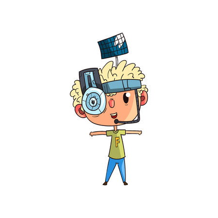 Cute scientist boy character working on science experiment set, funny kid in fantastic headdress with antenna and lens vector Illustration on a white background