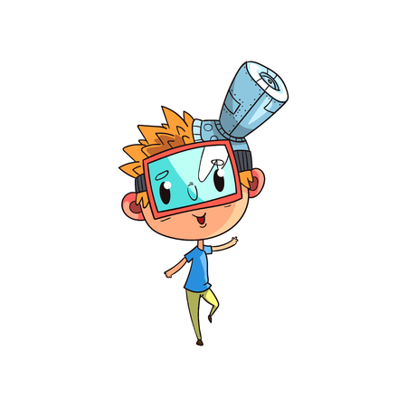 Cute scientist boy character working on science experiment, funny kid in fantastic headdress with antenna and mask vector Illustration on a white background Ilustração