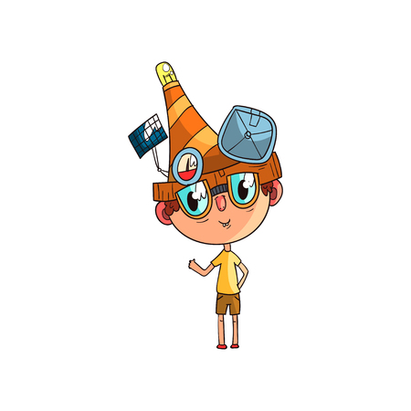 Cute scientist boy character working on science experiment, funny kid in fantastic headdress with experimental equipment vector Illustration on a white background
