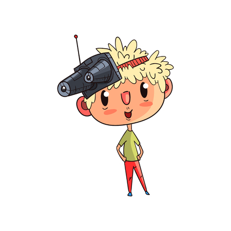 Cute scientist boy character working on science experiment, funny kid with experimental equipment on his head vector Illustration on a white background Ilustração