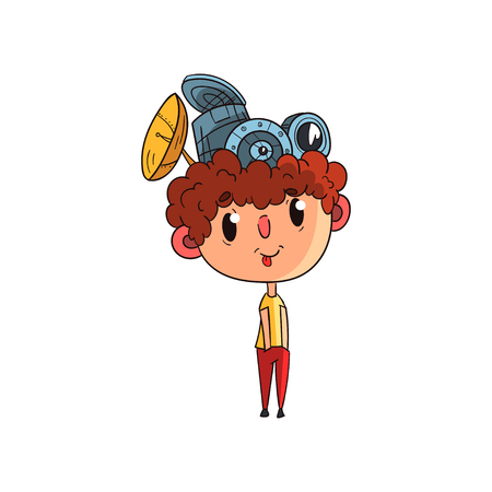 Cute scientist boy character working on physics science experiment, funny kid with antennas on his head vector Illustration on a white background