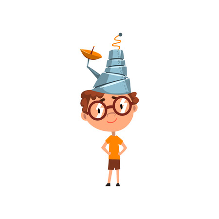 Cute kid in fantastic headdress with antenna, scientist boy character working on science experiment vector Illustration on a white background
