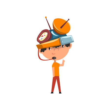 Cute kid in fantastic headdress with antennas and measuring devices, scientist boy character working on science experiment vector Illustration on a white background Ilustração