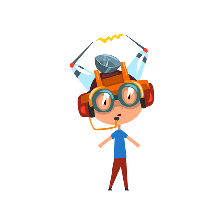 Cute funny kid in fantastic headdress and glasses, scientist boy character working on physics science experiment vector Illustration on a white background