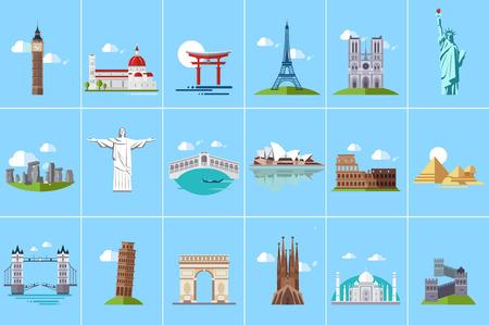 Famous architectural landmarks set, popular travel historical landmarks and buildings of different countries vector Illustrations, web design Foto de archivo - 99981023