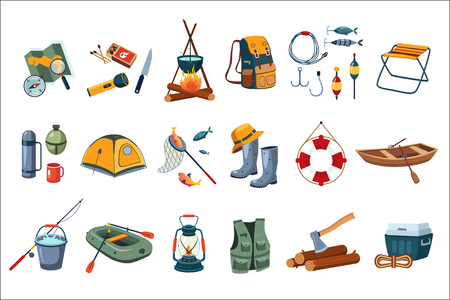 Camping icon set. Stock Illustratie