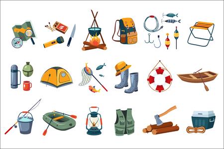Camping icon set. Illustration