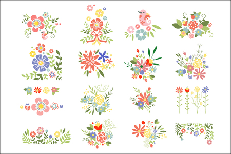 Set of colorful floral compositions. Blooming spring flowers. Colorful plants. Botanical theme. Graphic elements for greeting cards or notebook covers. Flat vector icons isolated on white background.