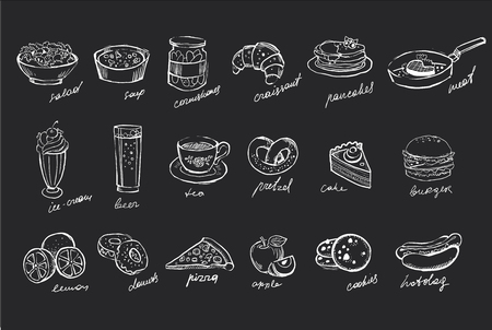 Vector set of hand drawn food and drinks on black chalkboard.