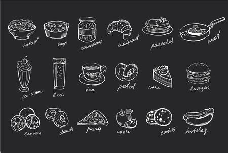 Vektorsatz Hand gezeichnete Lebensmittel und Getränke auf schwarzer Tafel Standard-Bild - 99994252