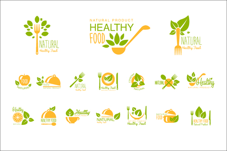 Set of healthy food and drinks logo templates. Natural product. Vegetarian nutrition. Orange-green emblems for cafe, restaurant or farm market. Creative vector labels isolated on white background. 일러스트