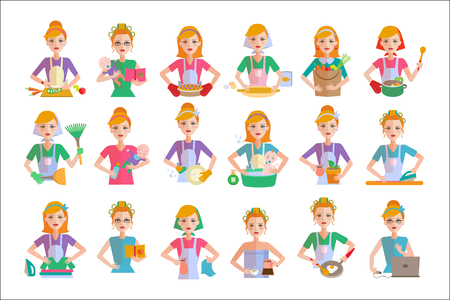 Set of housewife icons. Woman doing housework cooking, shopping, taking care of baby, cleaning, ironing clothes, working in office. Cartoon female character. Colorful flat vector isolated on white. Vettoriali