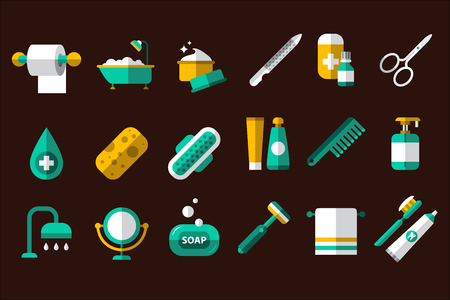 Hygiene icon set. Roll of toilet paper, bath, jar of cream, nail file and scissors, washcloth, sanitary pad, comb, soap, mirror, towel, razor, toothpaste and brush Isolated flat vector illustrations Stock Illustratie
