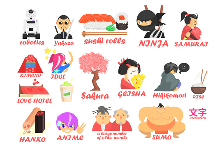Symbols of traditional and modern culture of Japan set, robotics, yakuza, ninja, sushi roll, samurai, kimono, geisha, sakura, hikikomor vector Illustrations isolated on a white background.