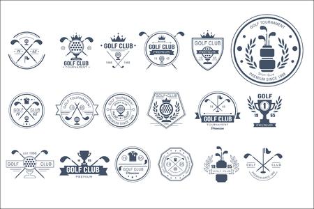 Sammlung von Vintage Logo-Vorlagen für Golfclub. Individuelles Sportspiel. Kreative Monochrom-Embleme mit Silhouetten von Bällen, Golfschlägern, Trophäen, Bändern und Kronen. Ursprüngliches Vektordesign. Logo