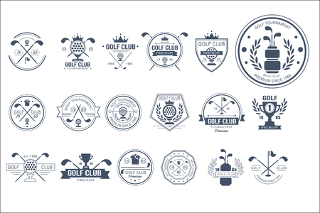 Collection of vintage logo templates for golf club. Individual sports game. Creative monochrome emblems with silhouettes of balls, golf clubs, trophies, ribbons and crowns. Original vector design.