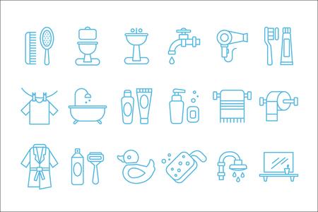 浴室および個人衛生に関連する線形アイコンのコレクション。トイレ、シンク、ヘアドライヤー、バスローブ、タオル、シェービングフォームとカ