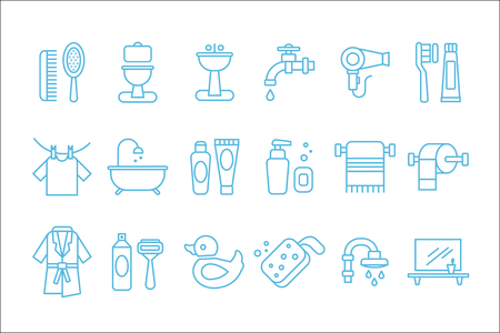 Collection of linear icons related to bathroom and personal hygiene. Toilet, sink, hairdryer, bathrobe, towel, shaving foam and razor, rubber duck, toothpaste and brush. Vector items isolated on white Illustration