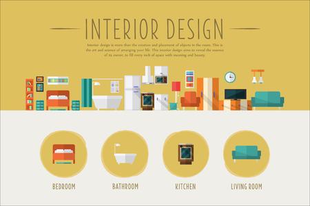 Modello dell'insegna di web di interior design, camera da letto, bagno, cucina, illustrazione di vettore di progetto del salone nello stile piano Archivio Fotografico - 99984602