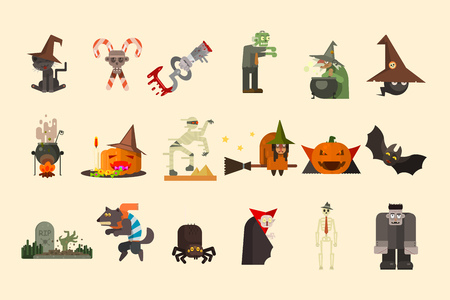 Halloween elements and funny characters. Zombie, witch on broom, cauldron with potion, pumpkin with sweets, count Dracula. Flat vector set