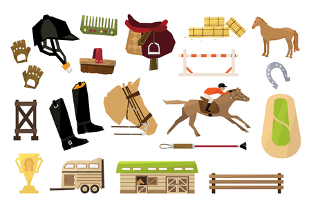 Flat vector set of equestrianism sport objects. Man, horse, wooden barn and fence, rider s equipment, trophy, stack of hay bales, horseshoe, field, trailer Ilustração