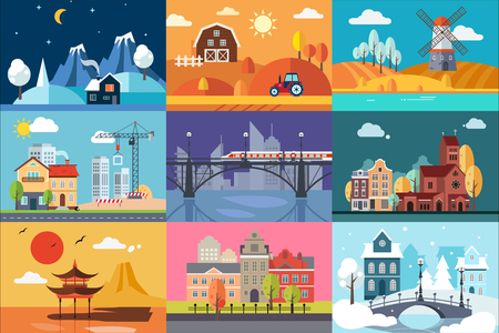 Urban and nature landscape in different seasons set vector Illustrations