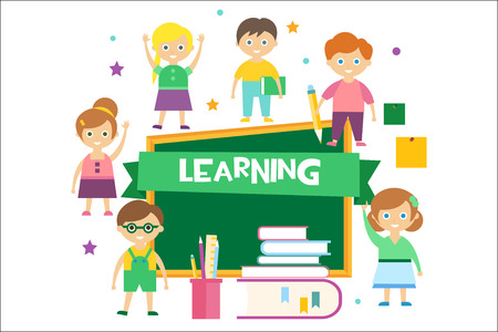 Cute happy schoolchildren and green chalkboard, elementary school, back to school kids, learning concept vector illustration Ilustração