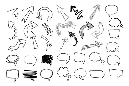 Hand drawn speech and thought bubbles big set, design elements collection vector illustration on a white background.