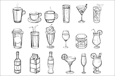 Hand drawn drinks and alcoholic cocktails big set doodle vector illustration on a white background.