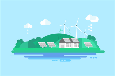 Eco residential house with solar panels and wind turbines, renewable energy concept vector illustration